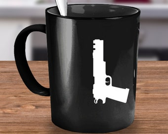 Weapon Love White on Black Mug is a great gift idea for anyone that loves weapons and guns. Perfect for soldiers and gun enthusiasts.
