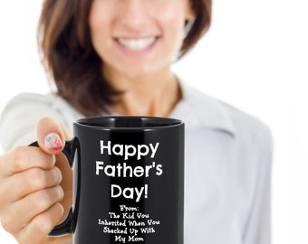 Shacked Up with Mom, fathers day, father, birthday, birthday gift, bonus dad, Coffee cup, unique fathers day gift, stepdad, stepdad gift