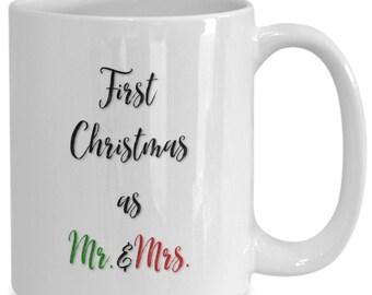 Newlyweds first christmas as mr.  mrs. coffee mug