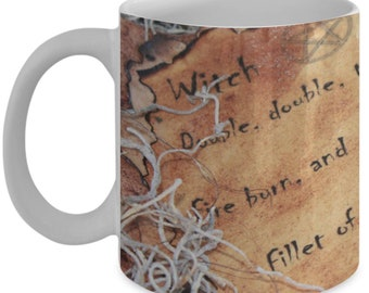 Witchcraft Spell Book And Ritual White Ceramic Coffee Mug