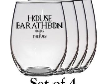 Game of Thrones, House Baratheon Set of Four 21 oz Stemless Wine Glass, Laser Etched, Simply Elegant
