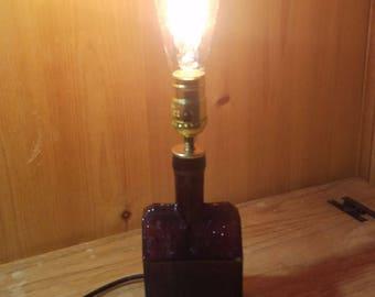 Antique Booz Whiskey Bottle Lamp, wood lamp, reclaimed, recycled, edison, lamp, light, desk lamp, office lamp, table lamp, sideboard, home