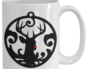 Rudolph the red-nosed reindeer, Christmas ceramic coffee mug, funny gift for friend and family