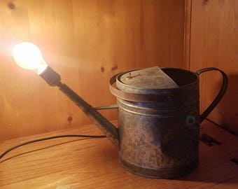 Antique Watering Can Lamp, wood lamp, reclaimed, recycled, edison bulb, lamp, light, desk lamp, office lamp, table lamp, sideboard, home