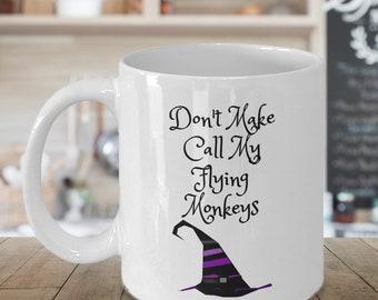 Flying Monkeys, witch, mug, Samhain, Halloween, witch hat, funny mug, holiday mug, fall, seasonal, coffee mug, coffee cup,