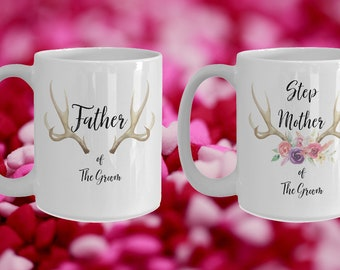 Step Mother and Father of the groom White Ceramic Coffee Mug |Wedding Gift | Engagement Gift | Anniversary| Newly Weds| Couple| Bride|Groom