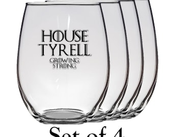 Game of Thrones, House Tyrell Set of Four 21 oz Stemless Wine Glass, Laser Etched, Simply Elegant
