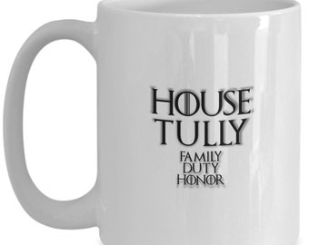 House of tully game of thrones coffee mug for the fan of either game of thrones tv series or video game