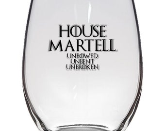 Game of Thrones, House Martell 21oz Stemless Wine Glass, Laser Etched, Simply Elegant