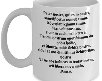 Pater Noster Our Father Lords Prayer White Ceramic Coffee Mug