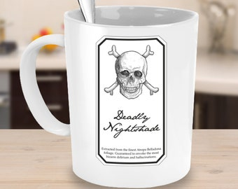 Nightshade, gothic, coffee mug, coffee cup, halloween, birthday, skull, pagan, poison, belladonna, nightshade, poisonous, deadly, plants
