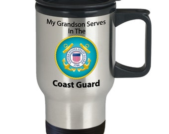 My grandson serves in the coast guard silver stainless steel travel mug