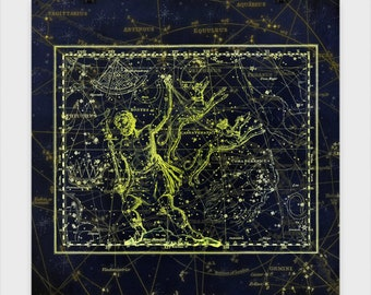 Canes Venatici Star Chart Poster, stars, celestial, astrology, astrological, star chart, serpent, leo, solar system, map, space, star map