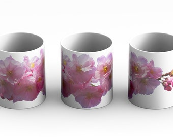Cherry Blossoms White Mug is a great choice and gift idea for anyone that loves trees or flowers. High definition 3D image of lovely blooms.