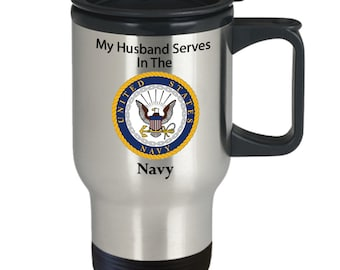 My husband serves in the navy silver stainless steel travel mug Veteran, service men, service women,heroes, day, 4th of July,memorial