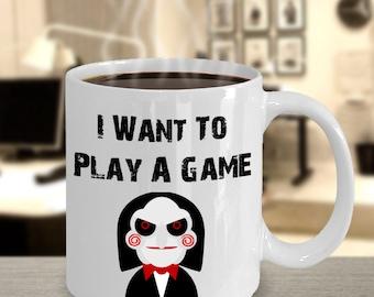 Play A Game, saw, mug, jigsaw, Samhain, Halloween, horror, scary, holiday mug, fall, seasonal, coffee mug,