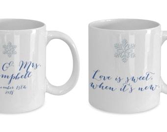 Newlyweds first christmas 2018 coffee mug for the couple
