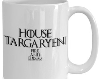House of targaryen personalized game of thrones coffee mug for the fan of either game of thrones tv series/ video game