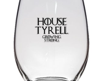 Game of Thrones, House Tyrell 21oz Stemless Wine Glass, Laser Etched, Simply Elegant