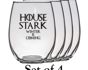 Game of Thrones, House Stark Set of Four 21 oz Stemless Wine Glass, Laser Etched, Simply Elegant