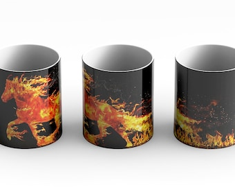 Fire Mare Mug Wrap in Black A beautiful image of a running mare made of flames. Great for fantasy lovers and those that love mythology.