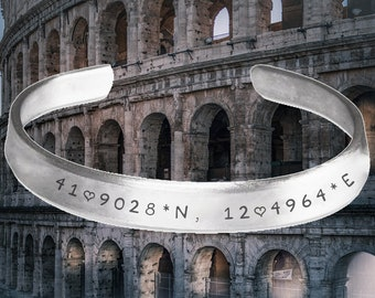 Rome, Italy, Travel, Coordinates, mapping, GPS, Bracelet, Wrist cuff, Stamped Bracelet, jewelry, adjustable bracelet, , famous
