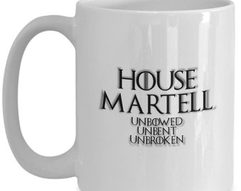 House of martell game of thrones coffee mug for the fan of either game of thrones tv series or video game