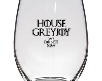 Game of Thrones, House Greyjoy 21oz Stemless Wine Glass, Laser Etched, Simply Elegant
