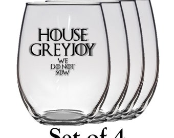 Game of Thrones, House Greyjoy Set of Four 21 oz Stemless Wine Glass, Laser Etched, Simply Elegant