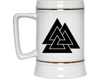 Valknut Viking Stein, odin, viking, Norse, stein, barware, bar mug, beer mug, Viking gift, pagan, vikings fan, Loki, , birthday