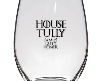 Game of Thrones, House Tully 21oz Stemless Wine Glass, Laser Etched, Simply Elegant