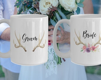 Bride and Groom White Ceramic Coffee Mug |Wedding Gift | Engagement Gift | Anniversary| Newly Weds| Couple| Bride|Groom