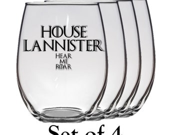 Game of Thrones, House Lannister Set of Four 21 oz Stemless Wine Glass, Laser Etched, Simply Elegant