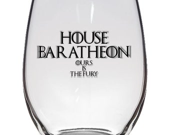 Game of Thrones, House Baratheon 21oz Stemless Wine Glass, Laser Etched, Simply Elegant