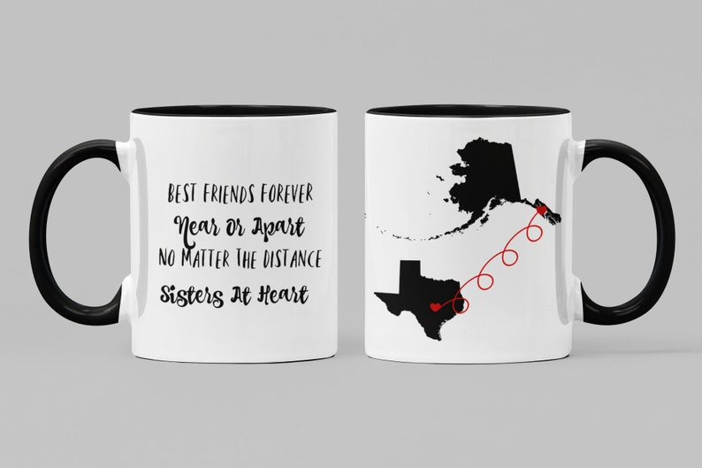 BFF Mugs  Best Friends Forever Sisters at Heart  Sister Gift image 0