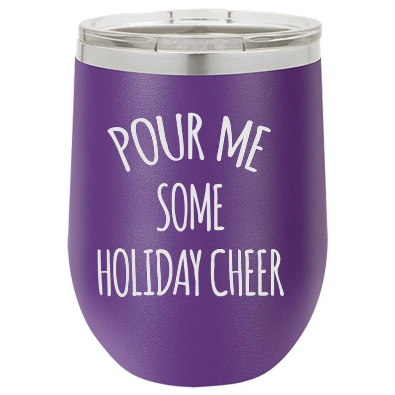 Cheerful Wine Tumbler Holiday Wine Tumbler for Him Engraved image 0