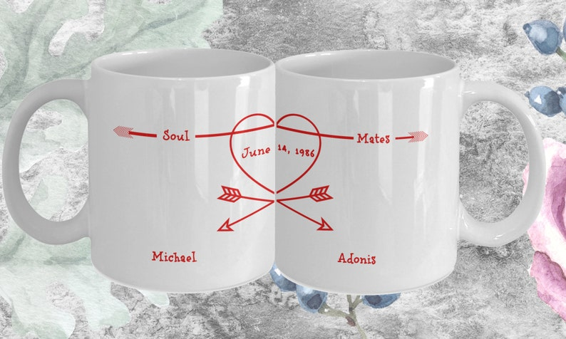 Personalized Soul Mates Coffee Mug Gift for Couples Engaged image 0