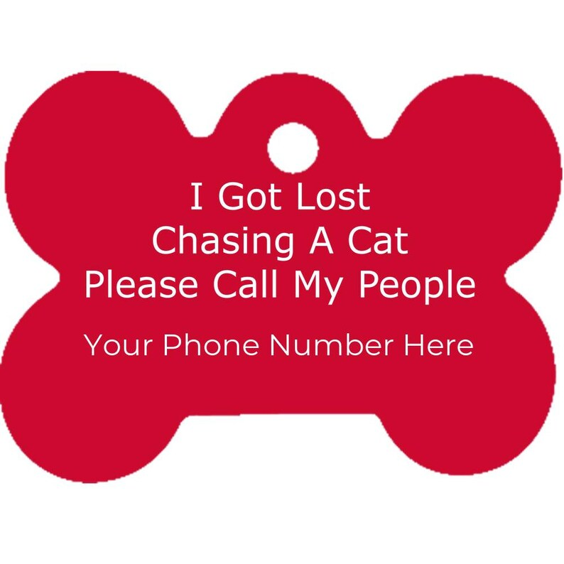 Personalized Custom Dog Tag I Got Lost Chasing a Cat Laser image 0
