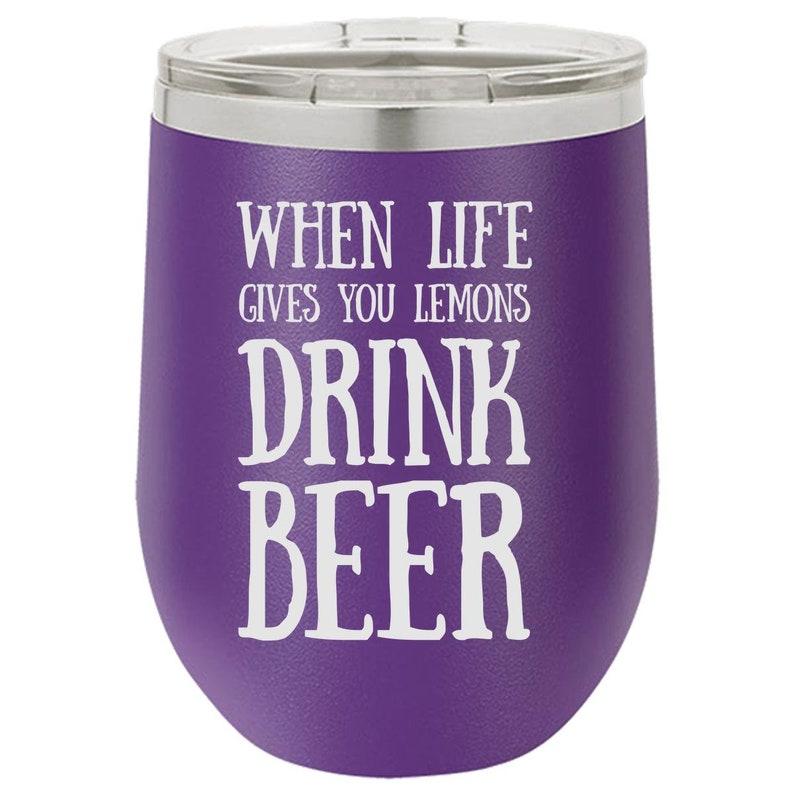 Lemonade Drink Tumbler for Him Engraved Wine Glass Christmas image 0