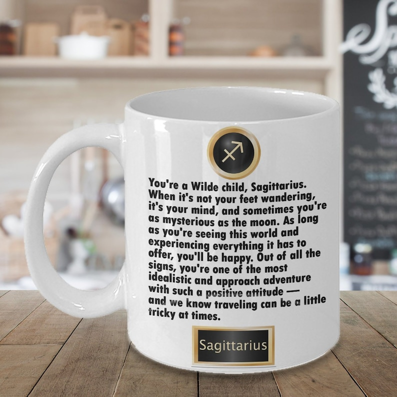 Sagittarius Horoscope Start your day off with your daily horoscope! Each  horoscope mug has a famous or popular quote on the back!