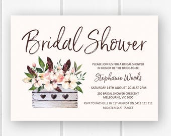 Rustic bridal shower invitation printable, bridal shower invites, bridal shower invitations floral bridal shower invite PDF digital W09