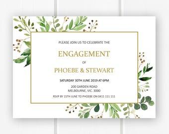 Garden engagement invitations printable engagement party invitation, greenery engagement invites, gold green garden party engaged invite W33