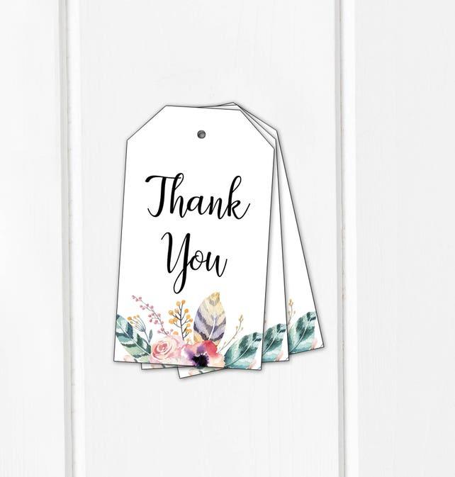 Boho Baby Shower Favor Tags Printable Bridal Thank You