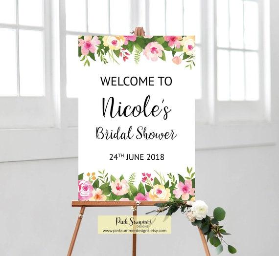 Welcome bridal shower sign printable bridal shower decorations floral bridal shower welcome sign pink bridal shower signs greenery BrS13