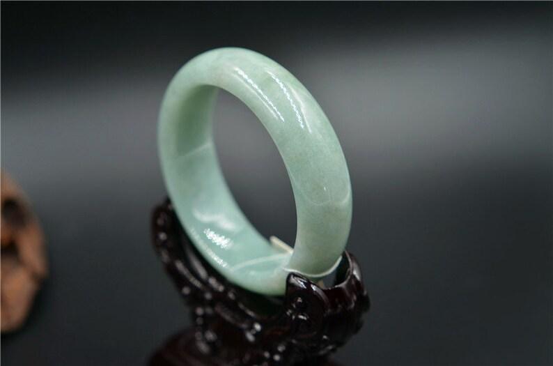 thick jadeite bangle handmade jade stone bracelet Chinese handmade 1719 52mm Asian jewelry gift for her