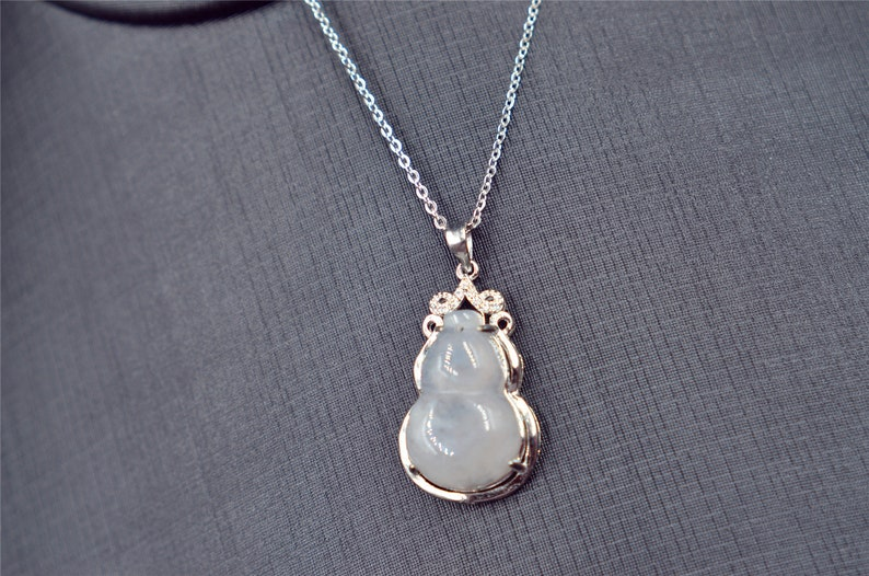 Gourd jade pendant silver 925 setting untreated Burma jade,NO chain included natural jade
