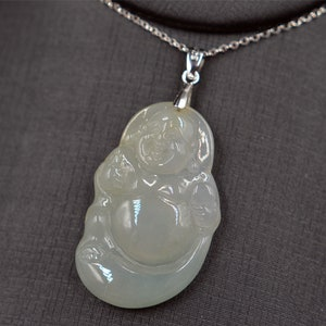 CHRISTMAS SPECIAL price DROPPEDcertified Grade A untreated natural jade  icy green ruyi  pendant laugh Buddha