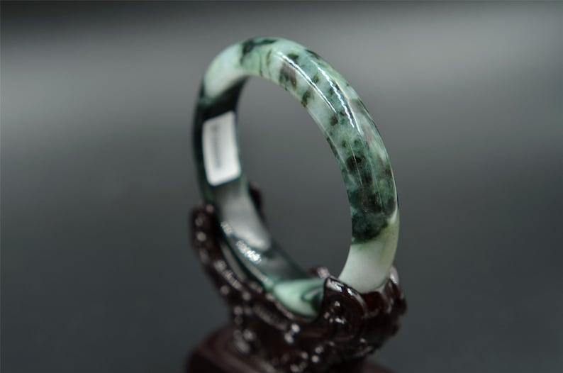 Chinese Natural Jade Jadeite Bangle blue Bracelet 61 mm