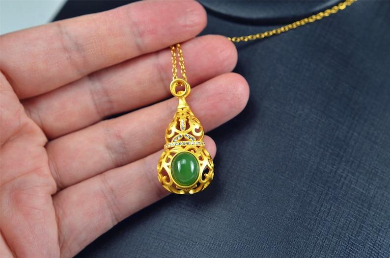 Bi jade Jasper green Jasperite silver 925 necklaces Guard 03072056