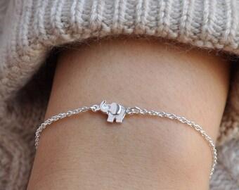 Tiny Elephant Bracelet, Elephant Jewelry, Gold or Silver Elephant Bracelet, Elephant Charm Bracelet, New Mon Gift, Gift for Children